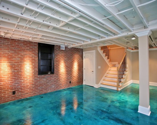 Basement Concrete Ceiling Slab Home Design Ideas, Pictures, Remodel and Decor