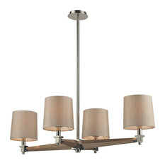 Jorgenson 4 Light Chandelier, Polished Nickel and Taupe Wood