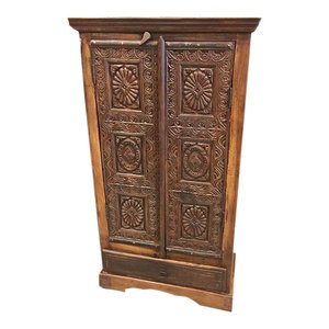 Mogul Interior - Antique Floral Chakra Hand Carved India Cabinet Rajasthan Eclectic DEsign - The cabinet comes from India and is a  19 century vintage pieces in great condition