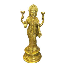 Mogul Interior - Standing Goddess Lakshmi in Blessing Pose Statue Hindu Figurines Brass Sculpture - Decorative Objects And Figurines
