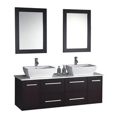 Double Sink Wall Mounted Bathroom Vanity Set Espresso This Double