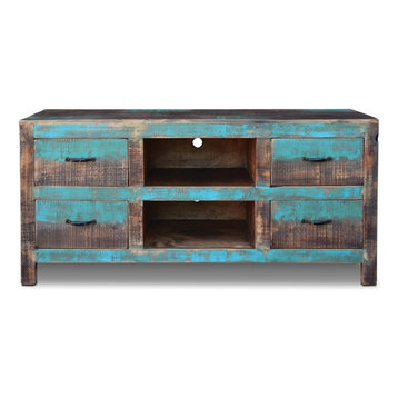 La Boca  Drawer Tv Stand Turquoise Entertainment Centers And Tv