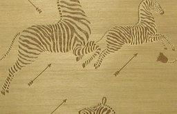 Zoe's Zebra Wallpaper, Grass Cloth, Gold Natural