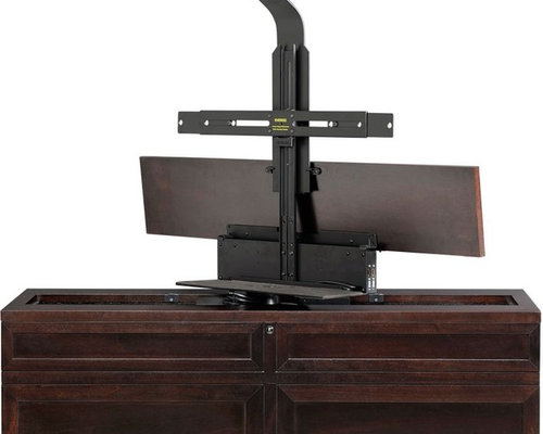 tv lift cabinets with electric 360 degree swivel. Black Bedroom Furniture Sets. Home Design Ideas