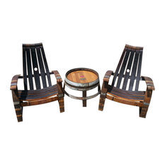 wine barrel adirondack chairs and side table set outdoor side tables alpine wine design outdoor