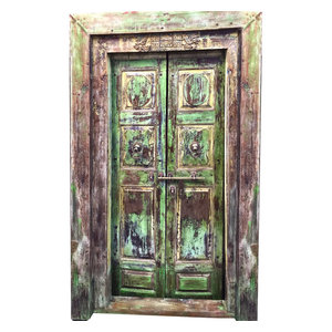 Mogul Interior - Consigned Reclaimed Teak Wood Door & Frame Historic Indian Furniture - Rich with history and detail these set of doors will accent beautifully any room.indian style Indian doors Frame are extremely strong, long lasting and secure.