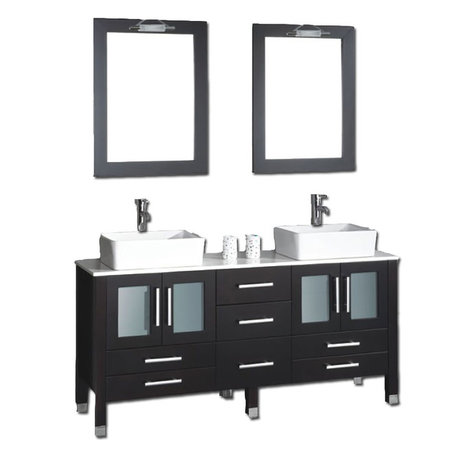 Tuscany Double Vanity Gray With White Vessel Sink Two Furniture Decorations Diy And More