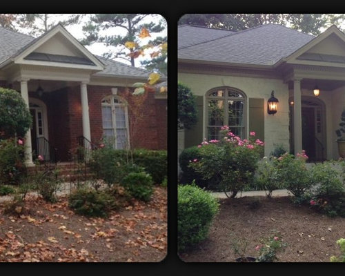 exterior before and after painted brick. Black Bedroom Furniture Sets. Home Design Ideas