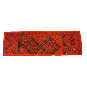 Mogul Interior - Consigned Patchwork Table Runner Red Indian Home Decor Wall Tapestry 60X20 - *Versatile in use such that you can use as a table runner or hang on the wall as a huge wall hanging