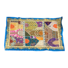 Mogul Interior - Consigned Real Room Inspiration Wall Hanging Tapestry - Traditional ethnic Room Decor handmade wall hanging tapestry has Indian Blue colors with silver,gold sparking beads,green patches.