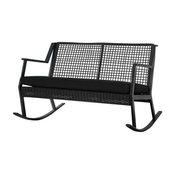 Real Flame Calvin Aluminum Patio Rocker Bench in Black