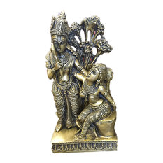 Mogul Interior - Indian Religious Gift Divine Couple Krishna Radha Brass Idol Sculpture Statue - Decorative Objects And Figurines