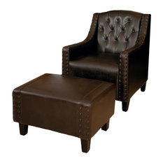 great deal furniture empierre brown leather club chair and footstool