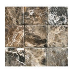 Black 4 X 4 Tumbled Mfd Tile Traditional Wall And