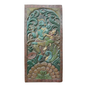 Mogul Interior - Consigned Ethnic Wall Panel Reclaimed Wood Radha Krishna The Eternal Lovers - Hand carved wall panels of Krishna and Radha dancing under the Kadambari tree on the double lotus flower base with peacock.