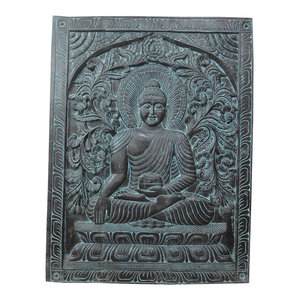 Mogul Interior - Consigned Indian Decor- Hand Carved Earth Touching Buddha Door Wall Hanging - The Buddha is seated In earth touching gesture on double floral base hand carved colorful door panel from India.
