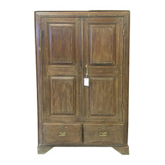 Mogul Interior - Consigned British Colonial Teak Almirah Rustic Old Wood Armoire Cabinet - Armoires And Wardrobes