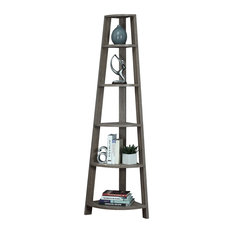 "Monarch Specialties - Dark Taupe Reclaimed-Look 72"" High Corner Accent Etagere - Add the perfect ..."
