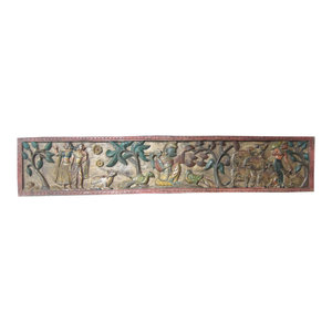 Mogul interior - Consigned Decorative India Carved Krishna Headboard Distressed Furniture - Beautiful vertical hand carved Krishna headboard can either be hung on the wall or use as a door panel.