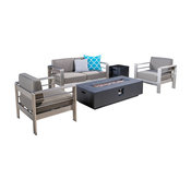 GDF Studio 5-Piece Coral Bay Outdoor Khaki Chat Set and Fire Table, Set, Gray