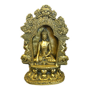 Mogul Interior - Buddha Brass Statue with Beautiful Arch Buddhist Yoga Decor Sculpture Idol - Lord Buddha is seated on a eleborate base in the earth touching pose surrounded by a beautiful arch.