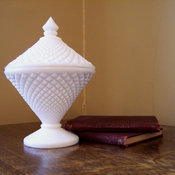 Milk Glass Covered Candy Dish by Sherwood Vintage