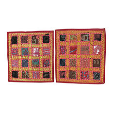 Mogul Interior - Indian Cushion Covers Maroon Embroidered Pillow Cover Throw Bohemian Home Decor - Decorative Pillows