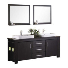 ... soft closing cabinets and three center drawers adorned with satin