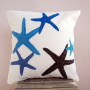 Blue Accent Starfish Pillow