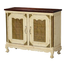 ... double doors that open onto a large two shelf cabinet. Thedoors are