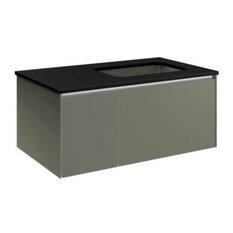"Robern - Robern VD36BRN Deep 36"" 2-Drawer Vanity With Right Sink Installation - Robern VD36BRN ..."