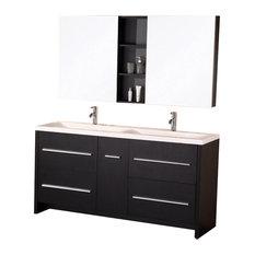 Espresso Modern Double Sink Vanity Set  Perfecta Vanity