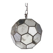 Worlds Away Knox Faceted Ball Pendant, Antique Mirror, 9""