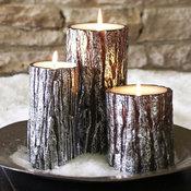Metallic Bark Pillar Candles