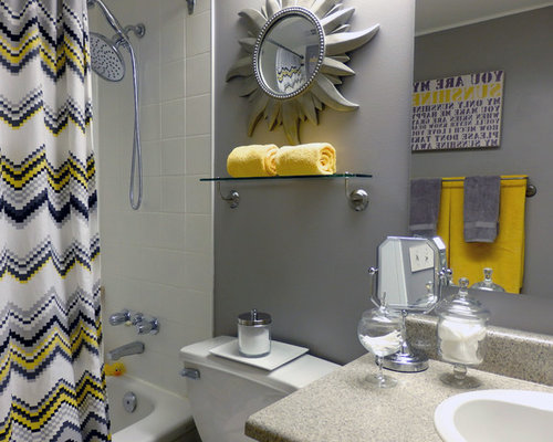 Yellow gray bathroom home design ideas pictures remodel for Bathroom decor yellow and gray