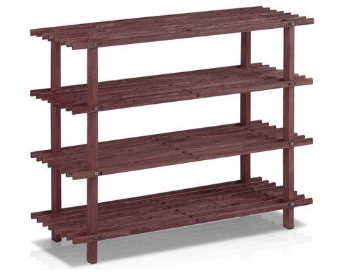 Furinno - Furinno Pine Wood Shoe Rack, Cherry - Shoe Storage