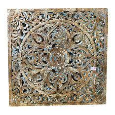 Mogul Interior - Consigned Hand Carved Lotus Wall Panel, Blue Patina Floral Carving - Shop for unique retro, one-of-a-kind items in Furniture on our online store.........