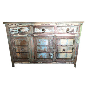 Mogulinterior - Consigned Blue Sideboards Drawer Chest Dresser Storage Cabinet - The eclectic sideboard comes from India and is a 20th century vintage piece