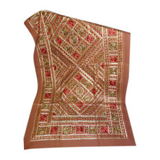 Mogul Interior - Brown Banjara Sofa Throw Brown Embroidered Tapestry Indian Inspired - Tapestries
