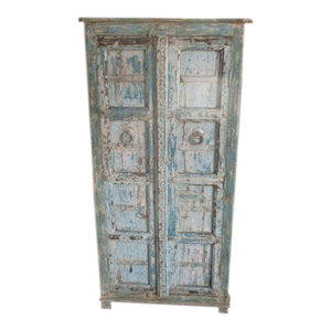 Mogul Interior - Consigned Cabinet Reclaimed Distressed Blue Patina Indian Furniture Armoire - The cabinet comes from India and is a 19th century vintage piece in great condition.