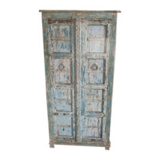 Mogul Interior - Consigned Cabinet Reclaimed Distressed Blue Patina Indian Furniture Armoire - Armoires And Wardrobes