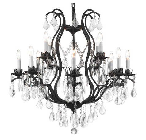The Gallery Viola Wrought Iron Crystal Chandelier Chandeliers
