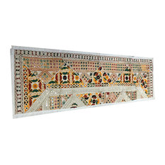 Mogul Interior - Vintage-Style Banjara Sari Mirror Work Tapestry - Table Runners