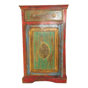Mogul Interior - Consigned Antique Finish jaipur End Table Nightstand hand caved Side Cabinet - The newer side cabinet comes from India and is a reproduction vintage pieces.