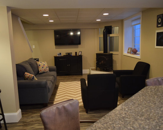 basement design ideas pictures remodel decor with a wood stove and