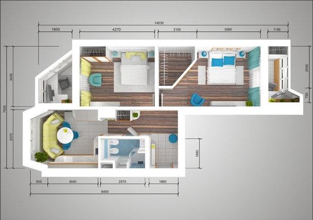 Дизайн двухкомнатной квартиры п 44т