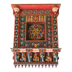 Mogul Interior - Consigned Antique Indian Wall Sculpture - Hand Carved Floral Decor Wall Panel - *Rich with history and detail Indian green and red patina jharokha window is from jodhpur, Rajasthan, India.