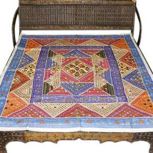 Mogulinterior - Tribal Kutch India Ethnic Bedspread- Blue Red Mirror Embroidery Tapestry Throw - Vibrant multicolor sparkling and mirror work adds to the glitter adorn various motifs cotton vintage sari hues of Color bedspreads.