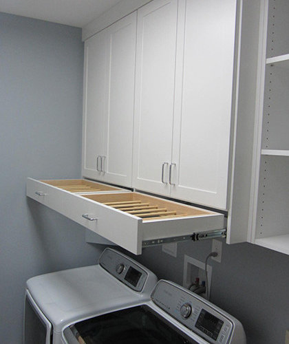 Laundry Room Design Ideas, Remodels & Photos with Light Wood Cabinets