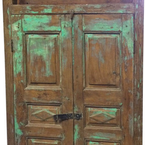 Mogul interior - Consigned Reclaimed Woods Jaipur Terrace Teak Doors, Colored Glass Indian Style - Rich with history and detail these set of doors will accent beautifully any room.